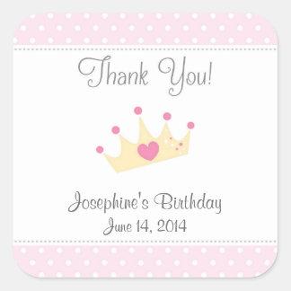 Princess Tiara Birthday Stickers (Pink)