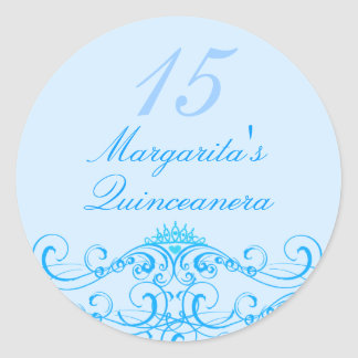 Princess Tiara Blue Quinceanera Sticker