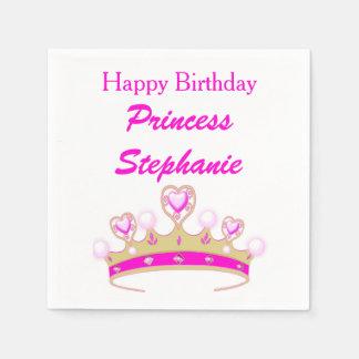 Princess Tiara Crown Pink Happy Birthday Girly Disposable Napkin
