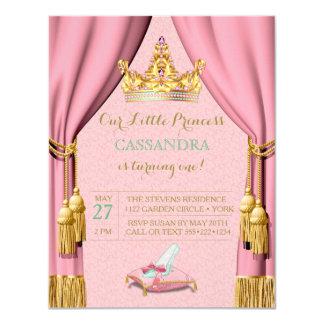 Princess Tiara Glass Slipper Pillow Pink Curtains Card