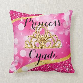 Princess Tiara Glitter Bling Bokeh | fuchsia Throw Pillow