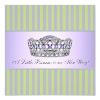 Princess Tiara Green Purple Girl Baby Shower Card