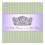 Princess Tiara Green Purple Girl Baby Shower Announcement