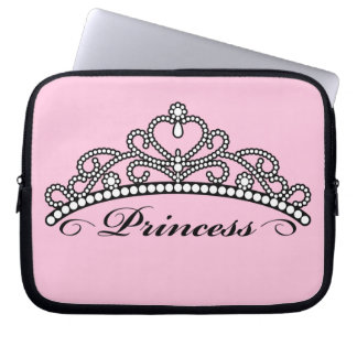 Princess Tiara Laptop Sleeve (pink background)