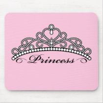 Princess Tiara Mouseapad (pink background) Mouse Pad
