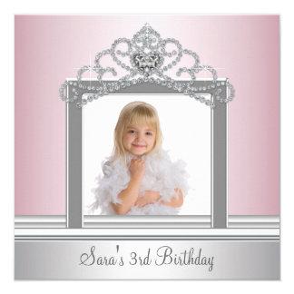 Princess Tiara Photo Princess Birthday Party 5.25x5.25 Square Paper Invitation Card
