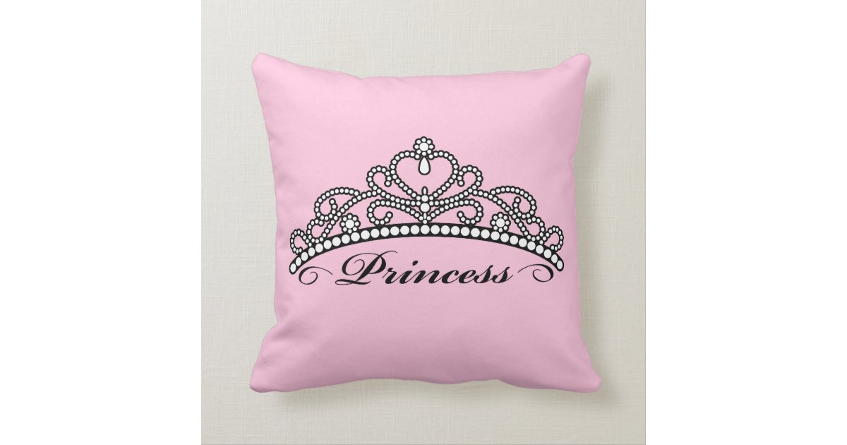 princess tiara pillow  pink background