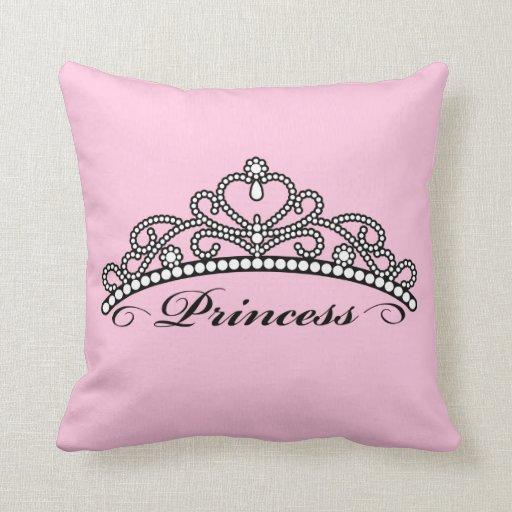 Princess Tiara Pillow (pink background)