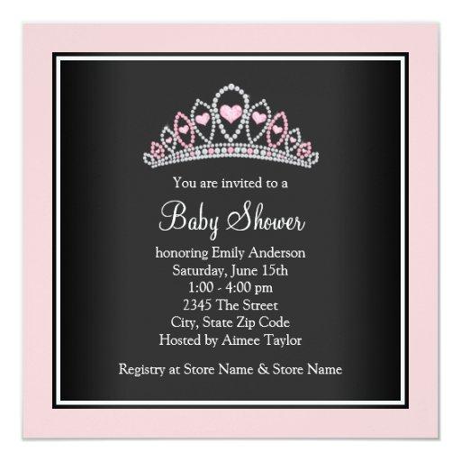 Princess Tiara Pink Princess Baby Shower 5.25x5.25 Square Paper Invitation Card