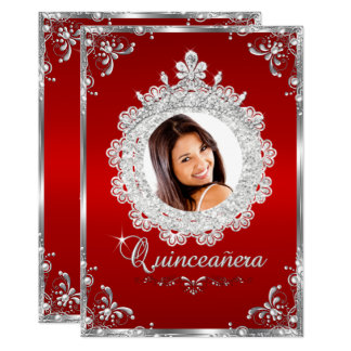Princess Tiara Red Silver Sparkle Quinceanera Card