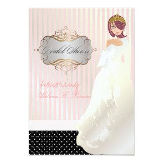 Princess + tiara/stripes/polka dots/bridal shower card