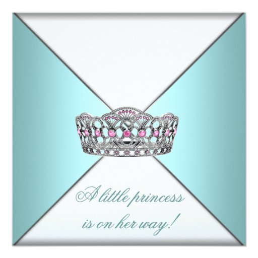 Princess Tiara Teal White Baby Girl Shower Personalized Announcements