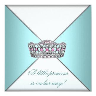 "Princess Tiara Teal White Baby Girl Shower 5.25"" Square Invitation Card"