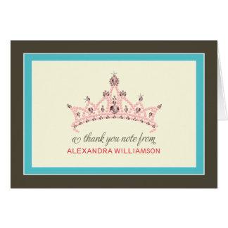 Princess Tiara Thank-You Card (aqua)