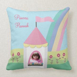 Princess Tower Rainbow Photo Pillow Cushion throwpillow
