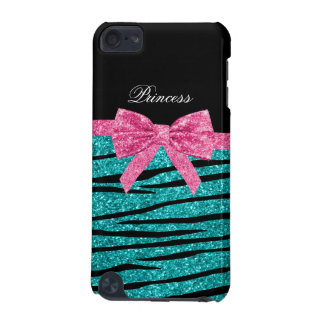 Princess turquoise glitter zebra stripes pink bow iPod touch 5G covers