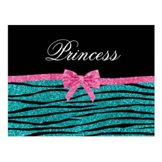 Princess turquoise glitter zebra stripes pink bow post cards