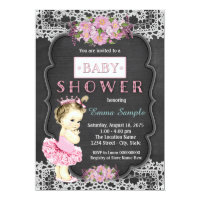 Princess Tutu Chalkboard Baby Girl Shower Card