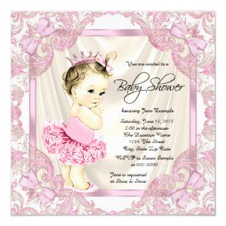 Princess Tutu Pearls Ballerina Baby Shower Invitation