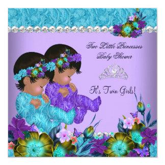 Princess Twin Baby Shower Teal Blue Purple Card