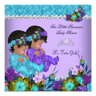 Princess Twin Baby Shower Teal Blue Purple Card