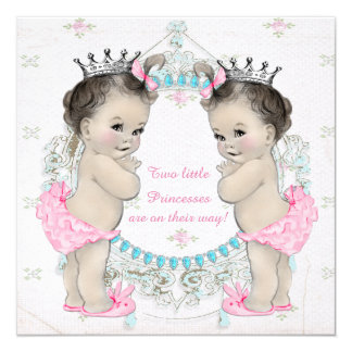 Princess Twin Girl Baby Shower Card