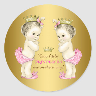 Princess Twin Girl Baby Shower Classic Round Sticker