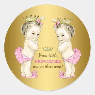 Princess Twin Girl Baby Shower Classic Round Sticker