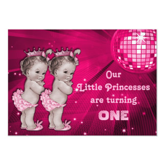 Princess Twins Pink Disco Ball 1st Birthday Card