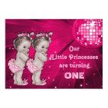 "Princess Twins Pink Disco Ball 1st Birthday 5"" X 7"" Invitation Card"