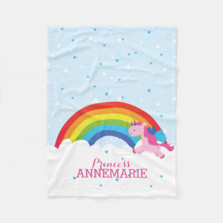 Princess Unicorn and Rainbow Fleece Blanket