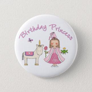 Princess Unicorn Birthday Girl Pinback Button