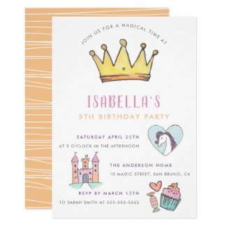 Princess Unicorn & Castle Fairytale Birthday Party Invitation