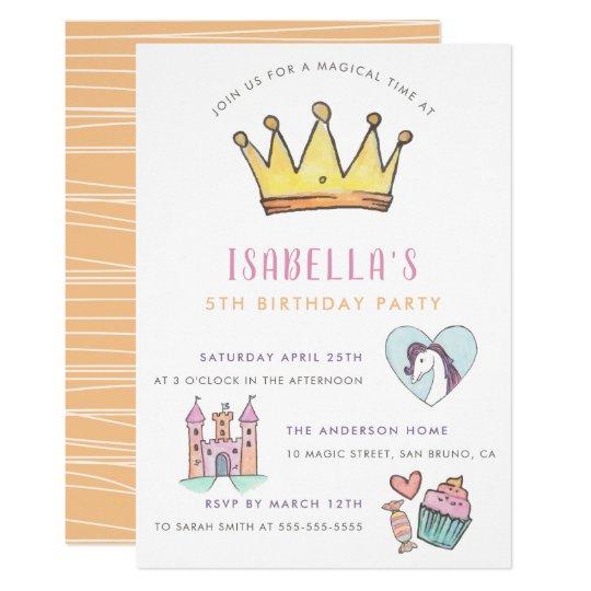 Princess Unicorn Castle Fairytale Birthday Party Invitation
