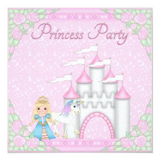 Princess, Unicorn & Castle Pink Princess Party Card