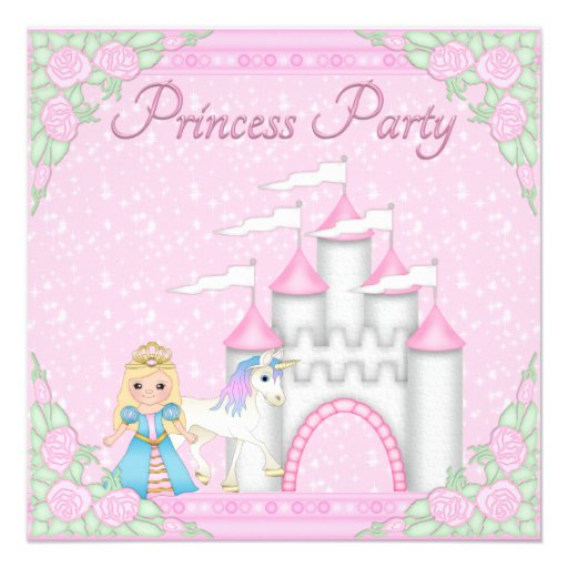 princess unicorn castle pink princess party invitation