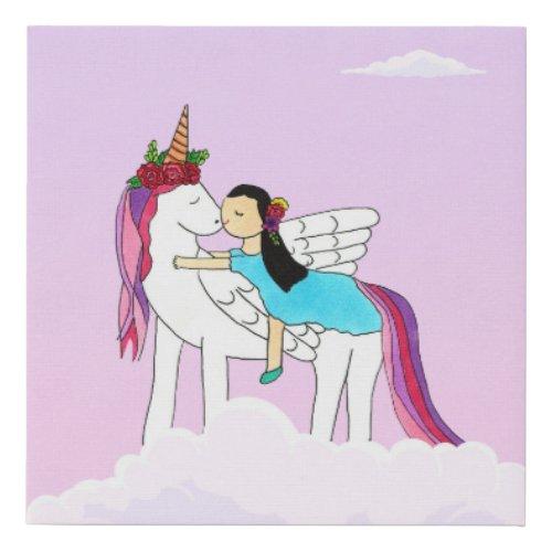 Princess & Unicorn Kiss Canvas Art