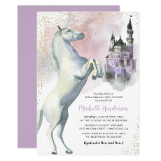 Personalised Princess Unicorn Purple Baby Shower Invitation