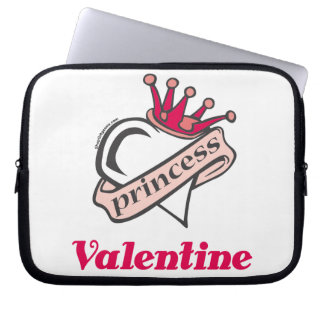 Princess Valentine Crown and Heart Computer Sleeve