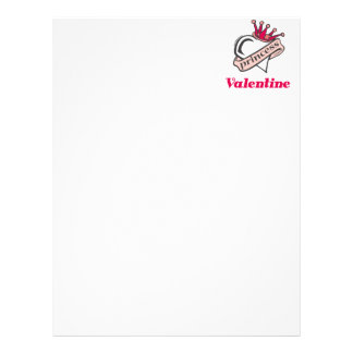 Princess Valentine Crown and Heart Letterhead