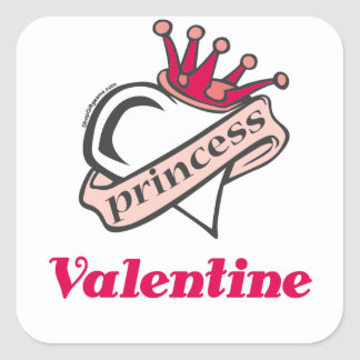 Princess Valentine Crown and Heart Square Sticker