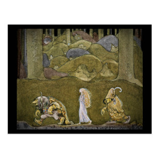 Princess Walking Through Forest with Trolls Postcard