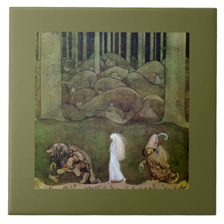 Princess Walking with Trolls Through Forest Ceramic Tile