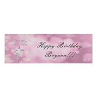 Princess Wand & Crown Custom Birthday Party Banner Poster