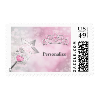Princess Wand & Crown Silver Pink Postage Stamp