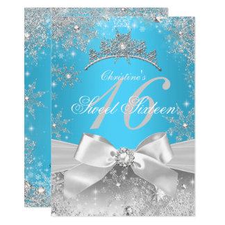Princess Winter Wonderland Blue Sweet 16 Card