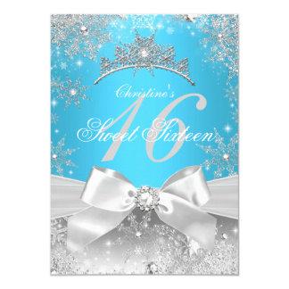 Princess Winter Wonderland Blue Sweet 16 4.5x6.25 Paper Invitation Card