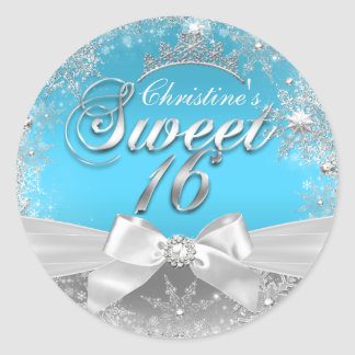 Princess Winter Wonderland Blue Sweet 16 Sticker