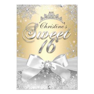 Princess Winter Wonderland Gold Sweet 16 Invite