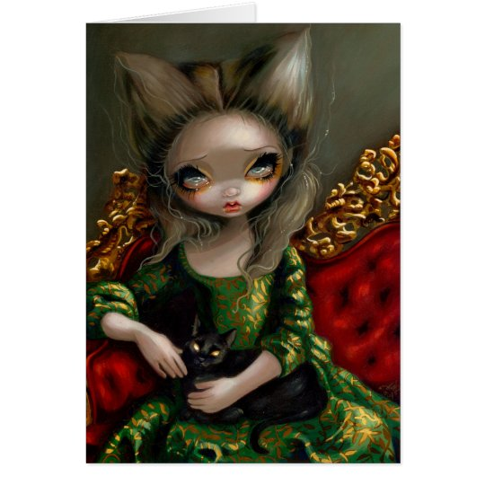 """Princess with a Black Cat"" Greeting Card"
